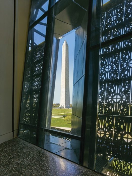 The Wahsington Monument seen from inside the Museum