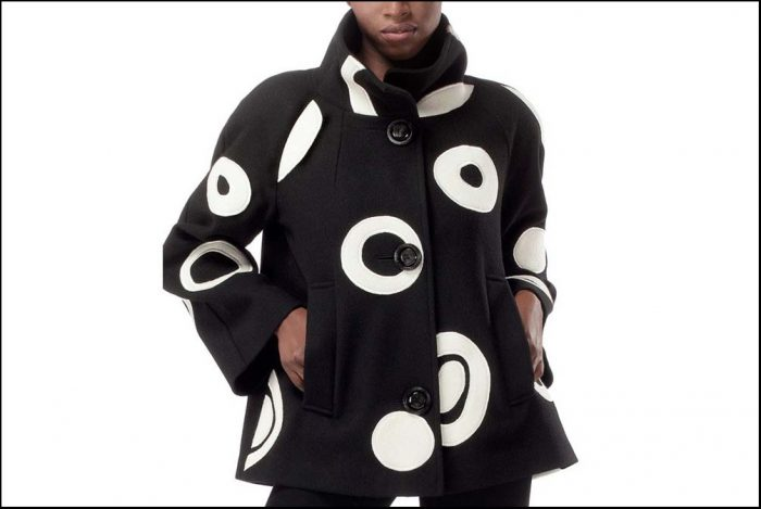 Black jacket with white circles
