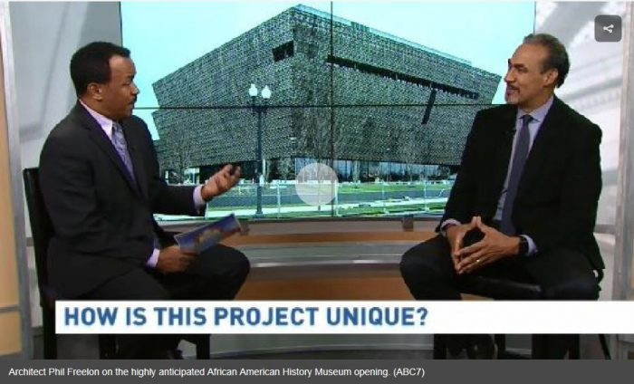 Screenshot of interview with museum in background