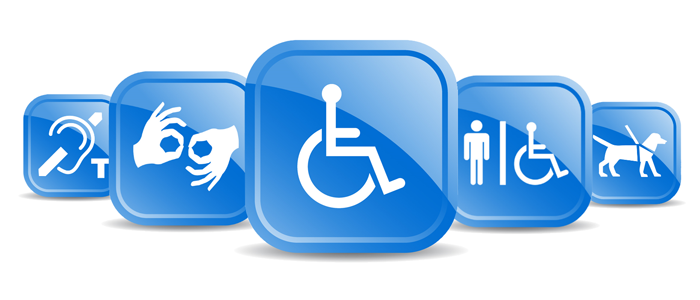 graphic of international symbols for various accessibility accommodations, hearing impaired, wheelchair, etc