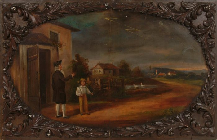 Framed painting depicting Franklin with kite