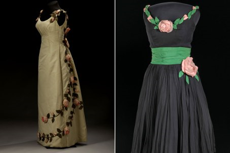 Two gowns on display
