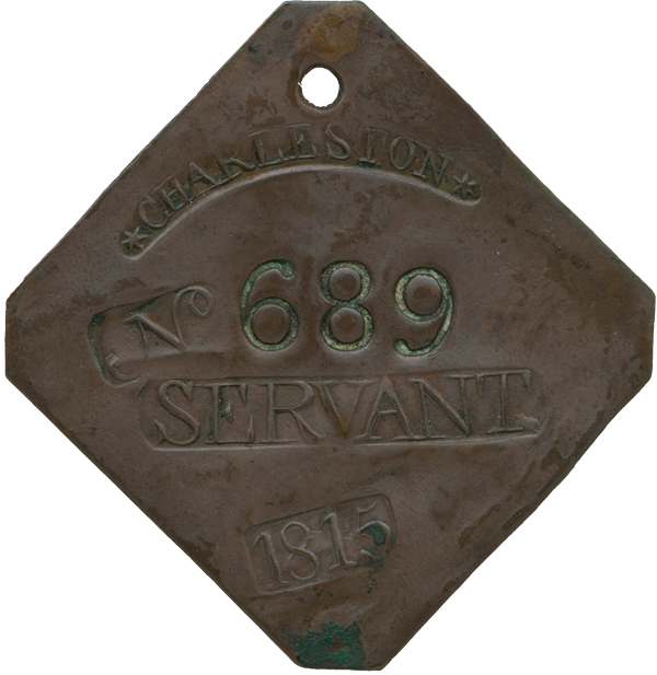 Small copper square marked with number and date