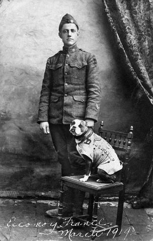 WWI soldier and dog