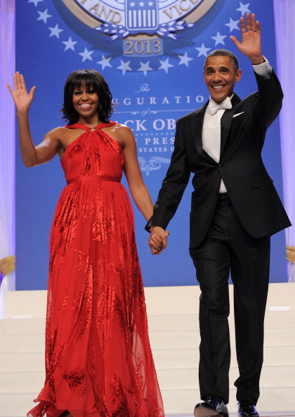 President and first lady wave