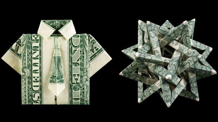 dollar bills folded into origami