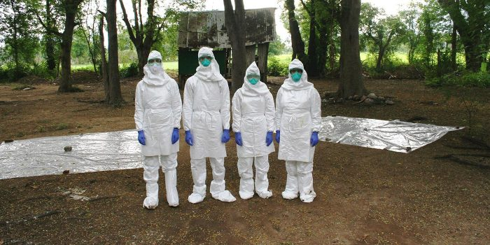 Four people in HAZMAT suits stand in front of collection tarps