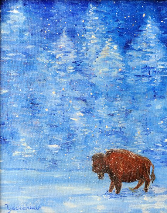 Painting of buffalo against blue and white landscape
