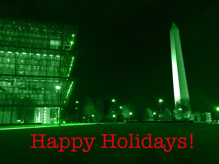 Greenlit photo of NMAAHC