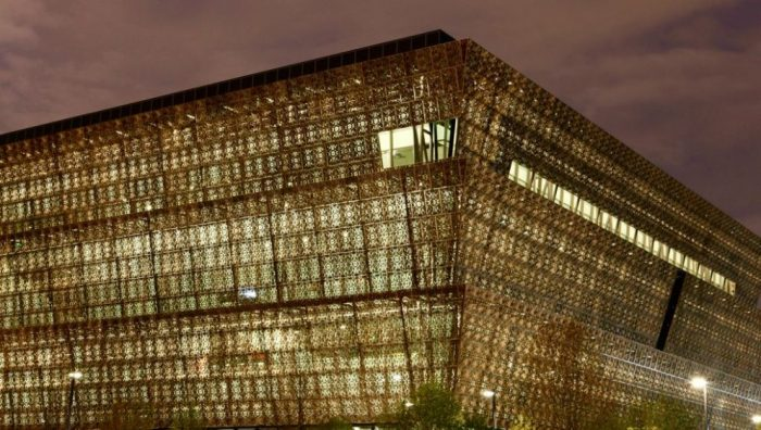 Exterior of African American Museum at dusk
