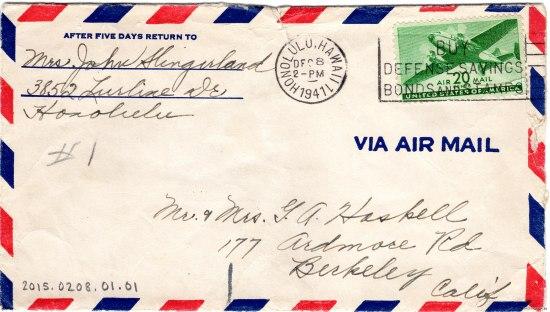 Handwritten air mail envelope
