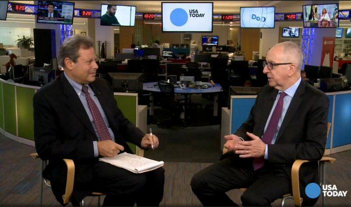 Screenshot of David Skorton talking to USA Today editor