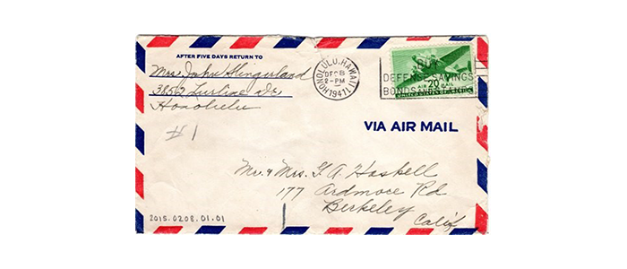Hand-written airmail envelope