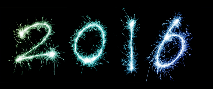 Graphic with 2016 in fireworks