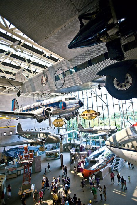 Gallery of Flight Hall with planes on display