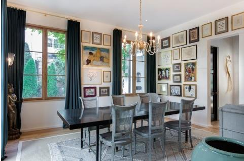 Dining room with art on the walls
