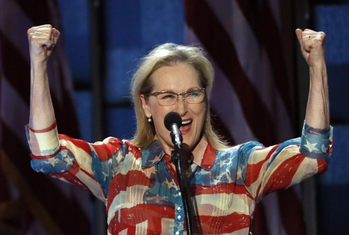 Meryl Streep onstage at Democratic National Convention