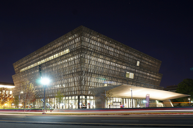 Exterior of NMAAHC at night