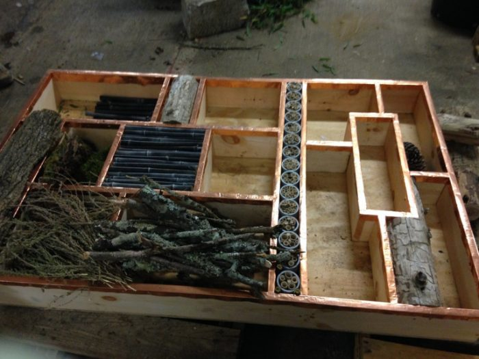 Partially completed insect habitat box.