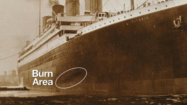 Old photo of Titanic hull