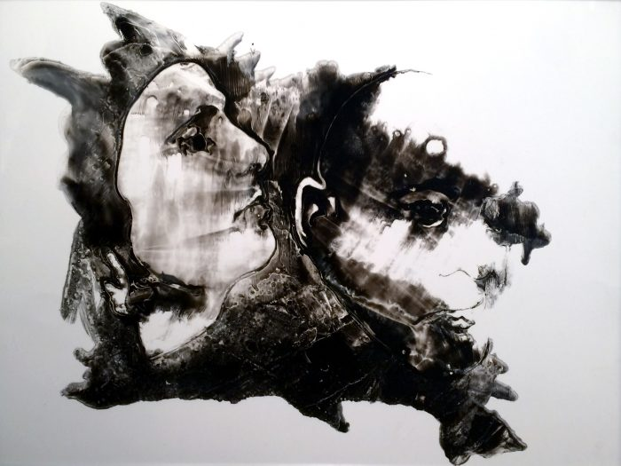 Sumi ink on mylar painting