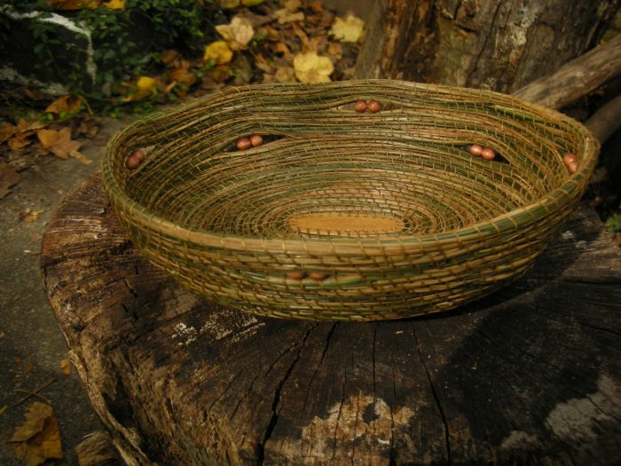 Basket made of pine needles