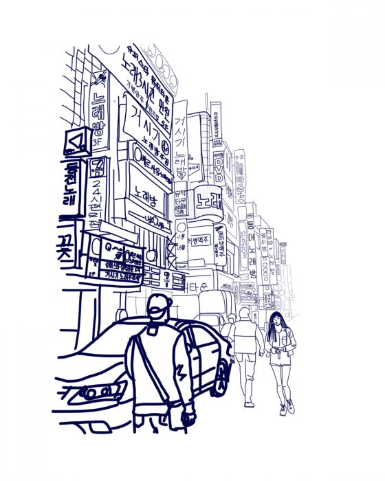 digital drawing of street scene