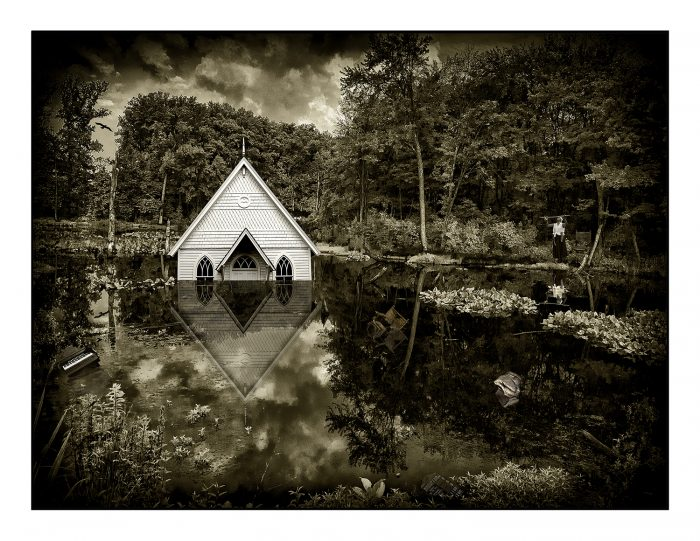 Photograph of partially submerged church