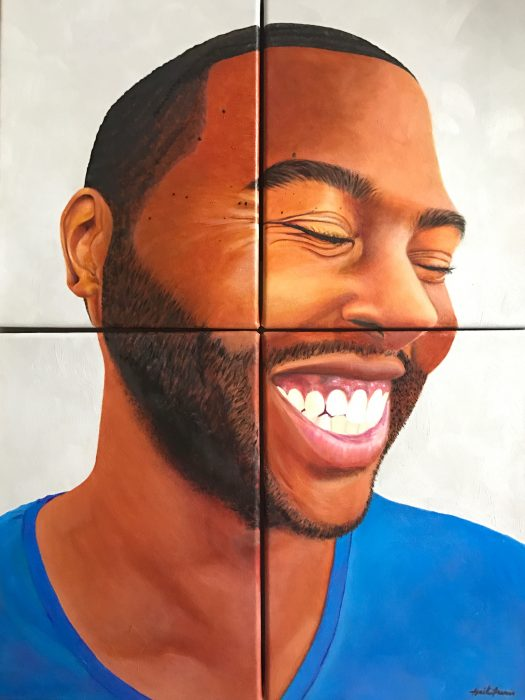 Oil on canvas painting of young man laughing