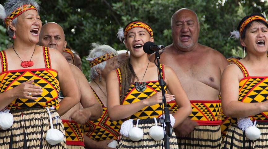 New Zealand singers in native dress