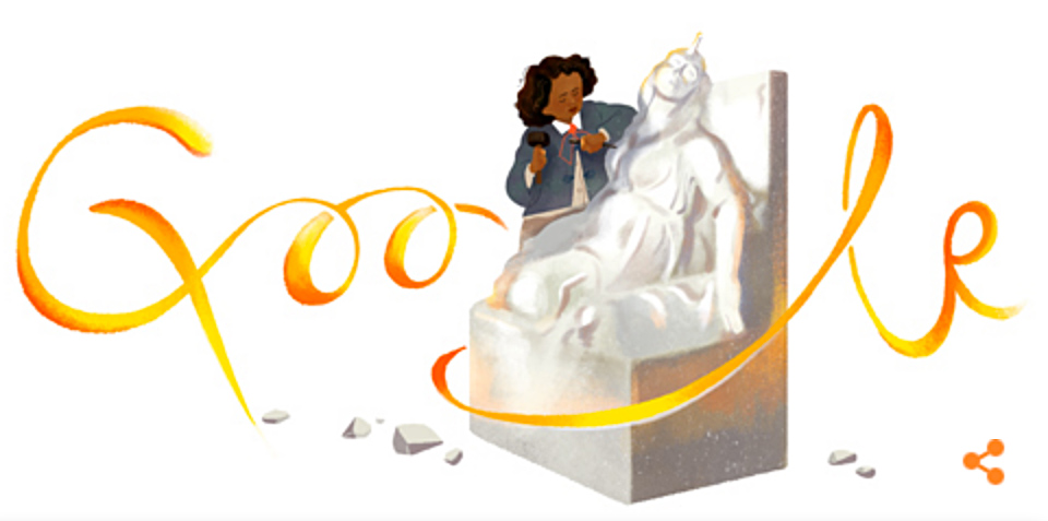 Google Doodle showing Google log wrapped around female sculptor at work