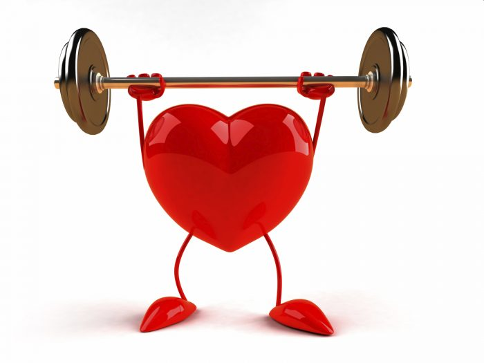 graphic of heart lifting weights