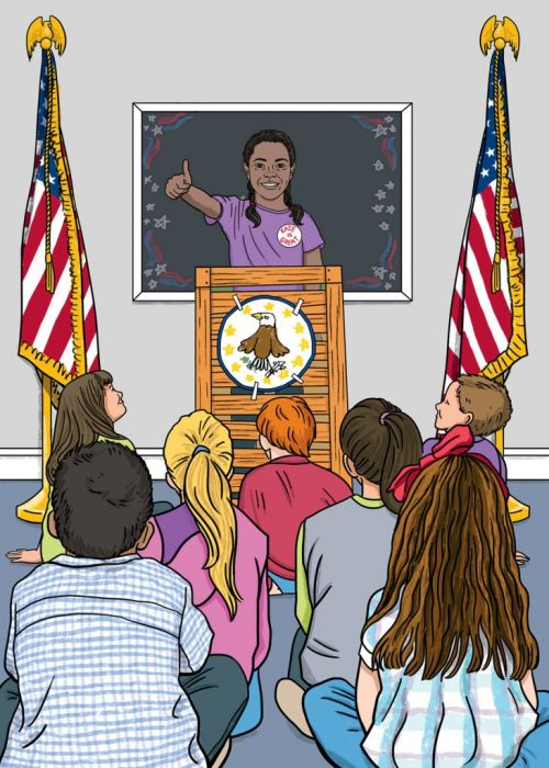 Illustration of classroom with young girl at podium