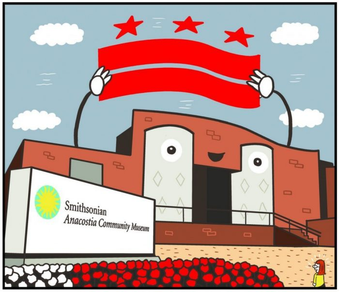 carton drawing of anthropomorphic museum