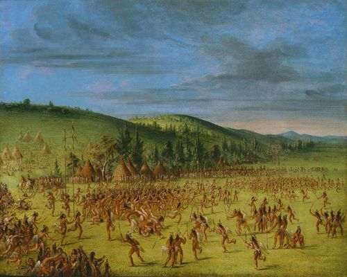 Large scale painting of many Indians playing ball