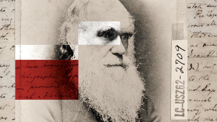 composite photo of Darwin and letter