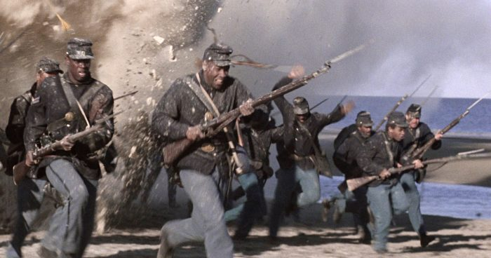 Movie image of troops in battle