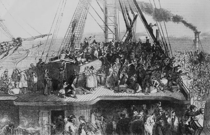 etching of crowded immigrant ship