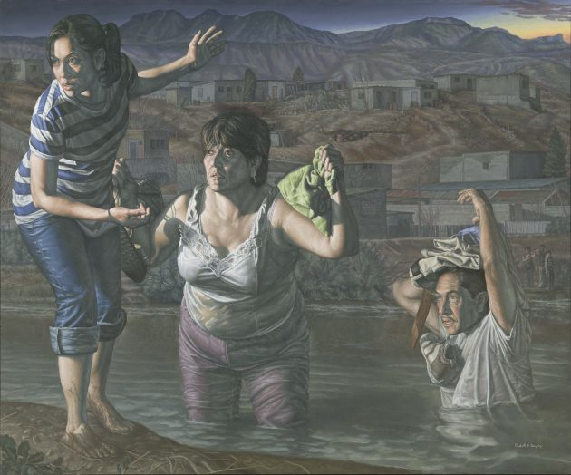 Painting of woman leading couple across Rio Grande