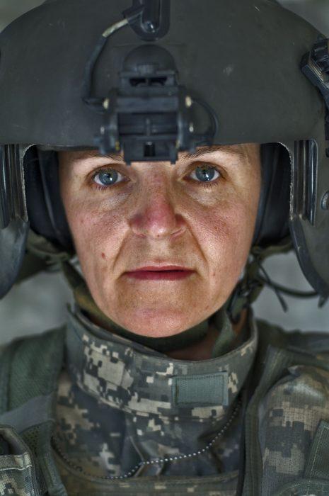Close up portrait of female soldier
