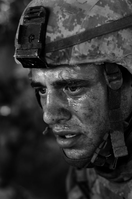 Black and white photo of stunned soldier