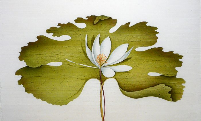 embroidered weaving of lotus flower