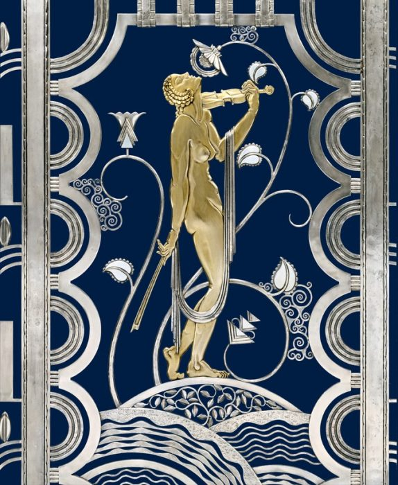 Art deco screen design in metal and enamel