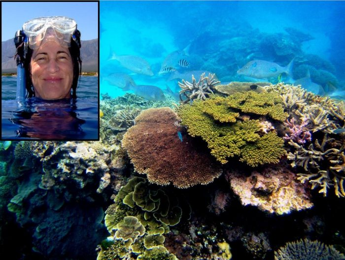 Close-up of Mary Hagedorn superimposed on larger photo of coral reef