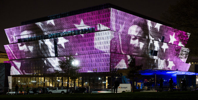 Video projection on museum exterior
