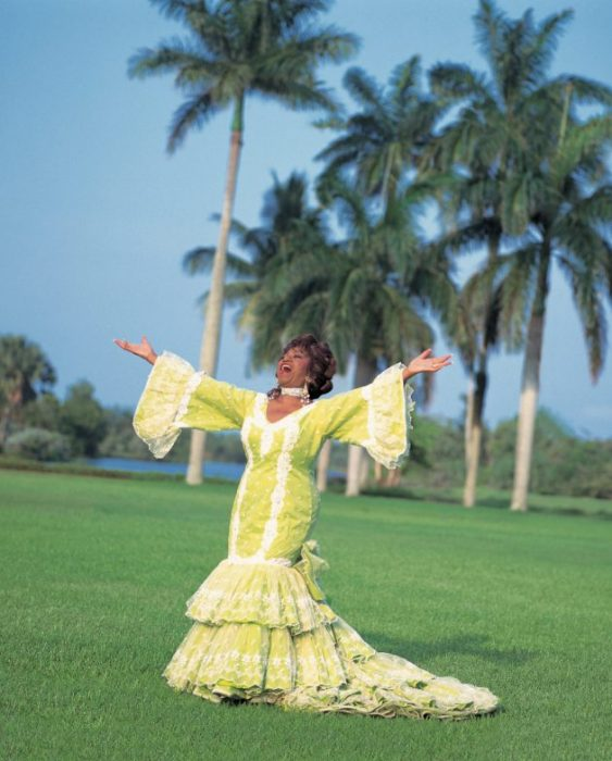 Cruz in Yellow gown posing against palm trees