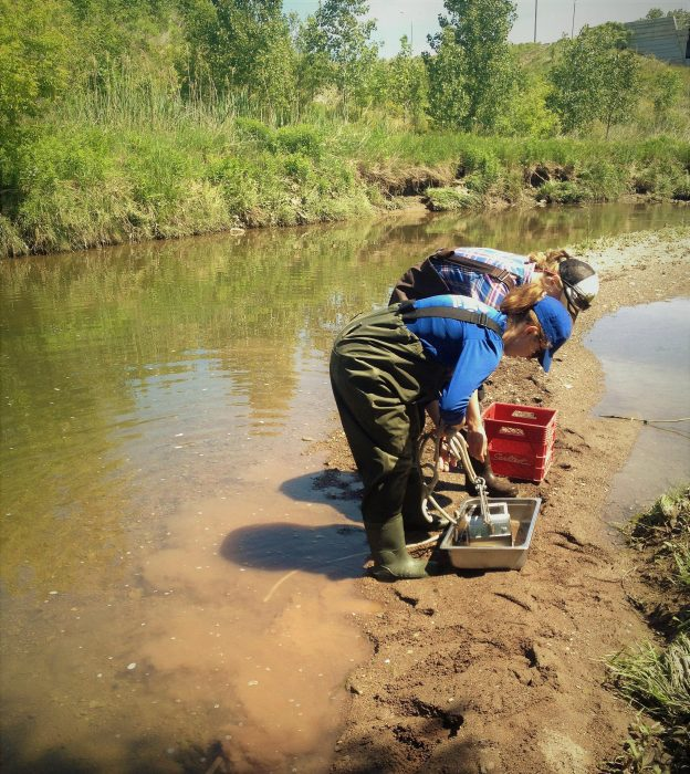 Researchers collect8ing samples from creek.
