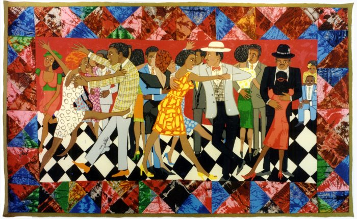 Colorful quilt featuring dancers