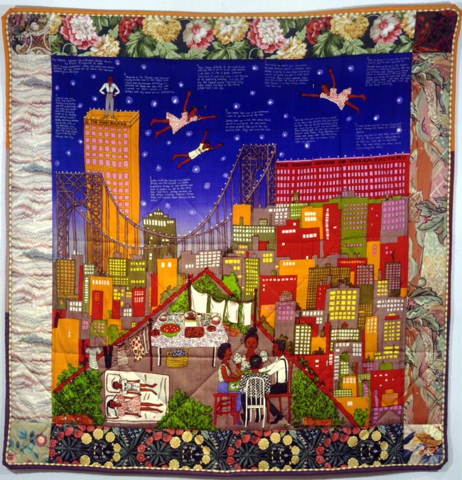 Colorful quilt featuring skyline and night sky