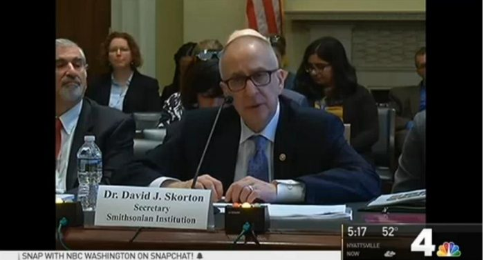 Screenshot of Secretary Skorton testifying before Congress